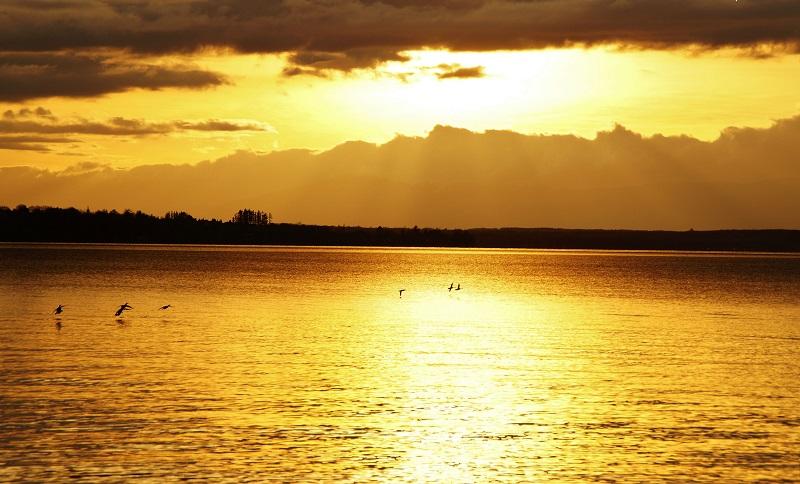 Léman Thonon coucher de soleil